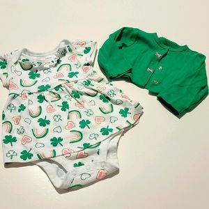 🍀Carter's Little Lucky Charm Dress and Cardigan